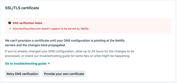 DNS not propogated yet
